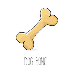 vector funny cartoon cute brown dog bone