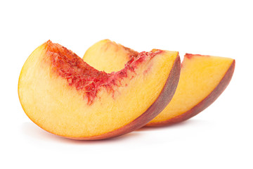 Peach fruit slice on white