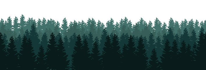 Silhouettes of trees in the forest on white background - seamless vector panorama
