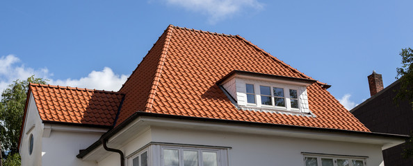 roof of house with red tiles