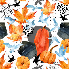 Garden Poster Graphic Prints Autumn watercolor background: leaves, bird silhouettes, pumpkin, hexagons.