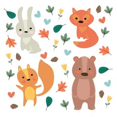 Vector illustration. The cartoon animals. The cute characters.