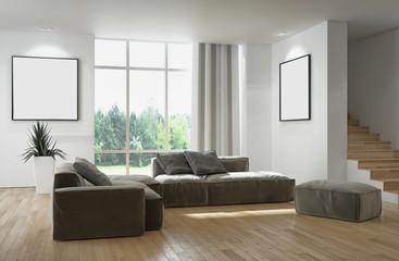Modern bright living room, white wall. 3D rendering