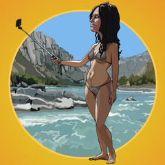 Cartoon woman in a swimsuit takes a picture of herself on a beach background