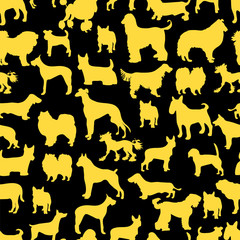silhouettes yellow dogs. seamless pattern