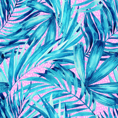 Watercolor tropical leaves summer seamless pattern.