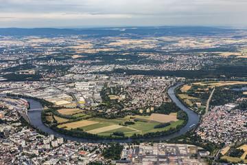 aerial of Hanau near Frankfurt with river Main loop