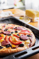 pizza with salami, mushrooms and cheese homemade. shallow depth of field. soft focus