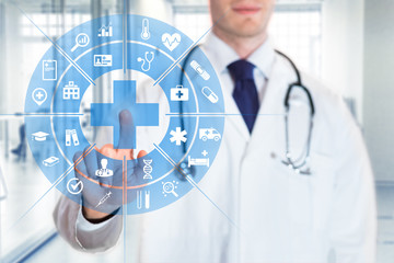 Medical doctor touching AR interface icons, health care services, hospital