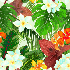 Seamless pattern with palm leaves and flowers