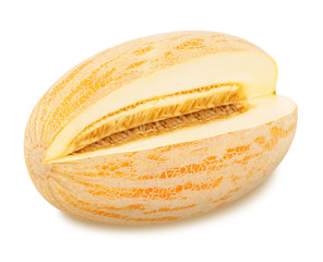 Cut tasty melon on a white background.