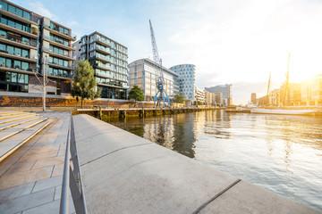 Sunset view on the modern residential district on the harbor of Hafencity in Hamburg, Germany