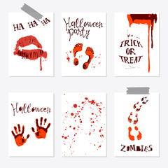 set of Halloween poster