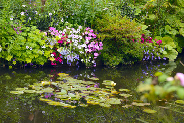 Beautiful Claude Monet's Garden of Giverny, lilies pond