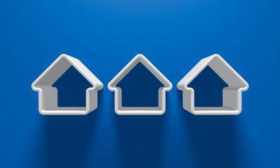 3D Illustration - Weisse Häuser vor blauem Hintergrund mit LIcht und Schatten 3