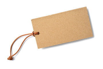 kraft cardboard label with leather cord