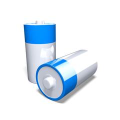 3D Illustration - Zwei Batterien blau silber auf weissem Hintergrund