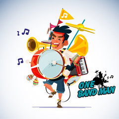 one man band character design. instrument concept - vector