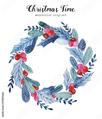 Watercolor Christmas Wreath Stock Image And Royalty Free Vector