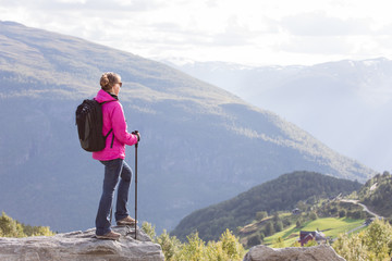 young woman hiking in Norway