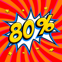 Red sale web banner. Sale eighty percent 80 off on a Comics pop-art style bang shape on red twisted background. Big sale background. Pop art comic sale discount promotion banner. Seasonal discounts