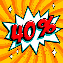 Orange sale web banner. Sale forty percent 40 off on a Comics pop-art style bang shape on yellow twisted background. Big sale background. Pop art comic sale discount promotion banner. Seasonal