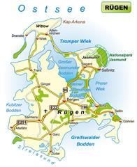 Insel Rügen mit Verkehrsnetz