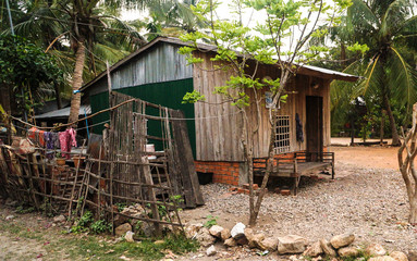 Cambodia Battambang old timber house killing hill