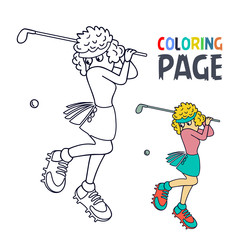 coloring page with woman golf player cartoon