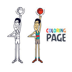 coloring page with basketball player cartoon