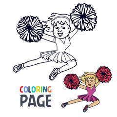 coloring page with woman cheerleader cartoon