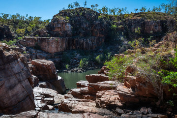 River and escarpment at Katherine Gorge on a beautiful sunny day in Nitmiluk National Park, Northern Territory, Australia.