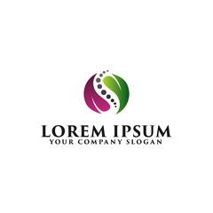 spinal column with leaf logo. medicine pharmacy herbal logo design concept template