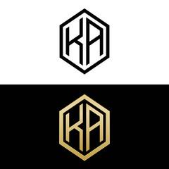 Obraz initial letters logo ka black and gold monogram hexagon shape vector - fototapety do salonu