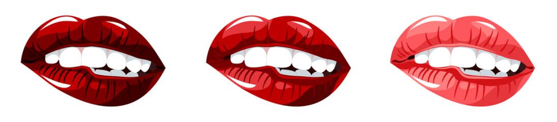 Set of images of beautiful, sensual female lips