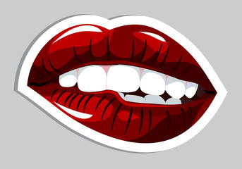 Sensual female lips, bites his lower lip. Sticker, Template