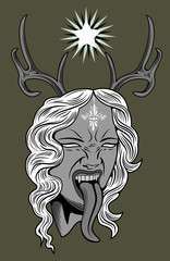 Face witch with vampire fangs, leaning long tongue, with deer horns on the head
