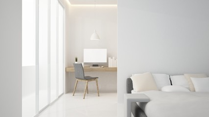 The interior minimal living space in hotel and decoration - 3D Rendering