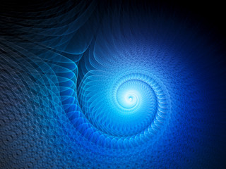 Blue glowing multidimensional spiral