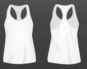Women white top tank. vector illustration