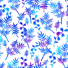 seamless pattern with brush flowers and leaves plant . Blue watercolor color on white background. Hand painted grange texture. Ink forest elements. Fashion modern style. Endless fabric print.