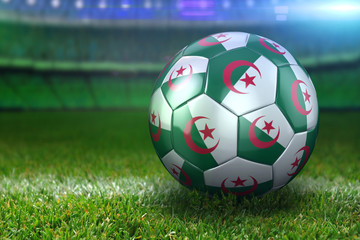 Algeria Soccer Ball on Stadium Green Grasses at Night
