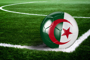 Algeria Soccer Ball on Field at Night