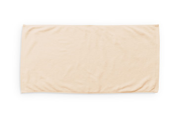 Beige cream beach towel mock up isolated on white background, flat lay top view
