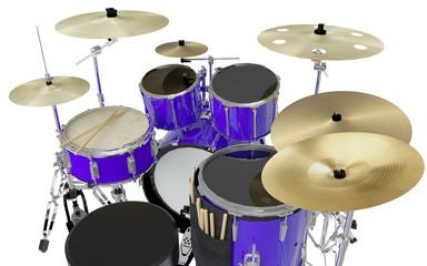 close up blue drums set 3d illustration