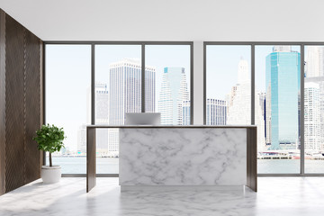 Marble reception in a loft office