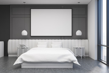 Gray bedroom interior, poster