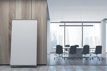 Vertical poster on office floor, meeting room