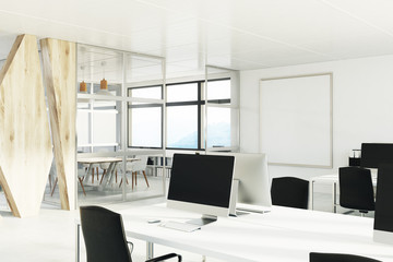 Open space office with a wooden wall, corner