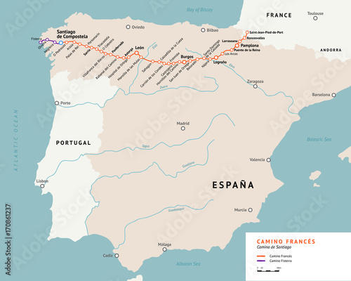 French Way map Camino De Santiago or The Way of StJames France